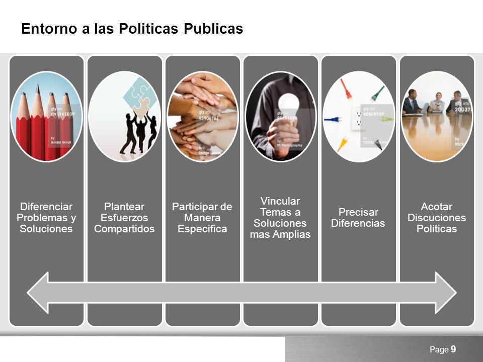 Here comes your footer Entorno a las Politicas Publicas Page 9 Diferenciar Problemas y Soluciones Plantear Esfuerzos Compartidos Participar de Manera