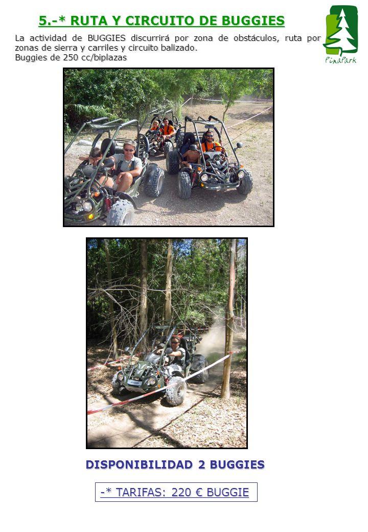 5.-* RUTA Y CIRCUITO DE BUGGIES La actividad de BUGGIES discurrirá por zona de obstáculos, ruta por zonas de sierra y carriles y circuito balizado. Bu