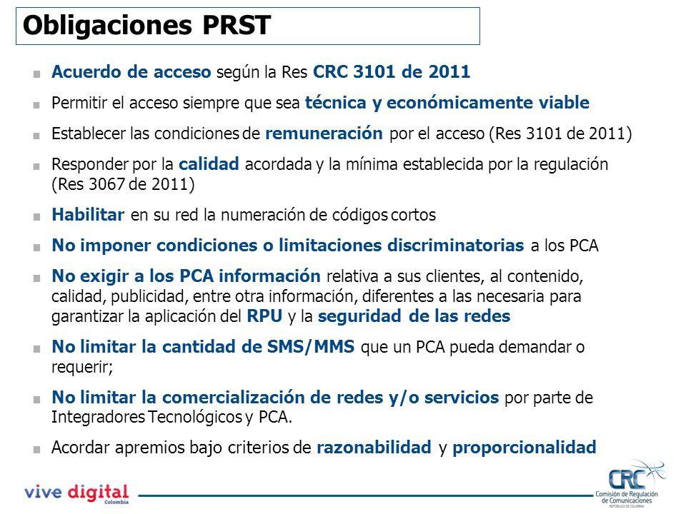 Obligaciones PRST Acuerdo de acceso según la Res CRC 3101 de 2011 Permitir el acceso siempre que sea técnica y económicamente viable Establecer las co