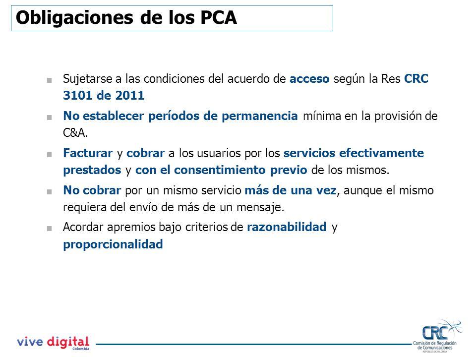 Obligaciones de los PCA Sujetarse a las condiciones del acuerdo de acceso según la Res CRC 3101 de 2011 No establecer períodos de permanencia mínima e