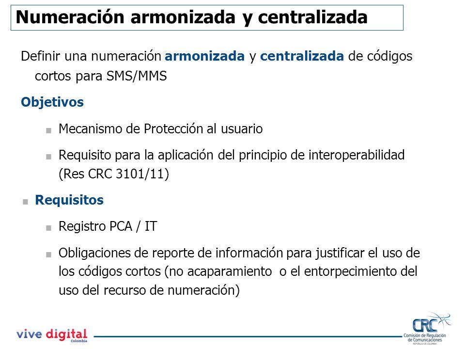 Numeración armonizada y centralizada Definir una numeración armonizada y centralizada de códigos cortos para SMS/MMS Objetivos Mecanismo de Protección