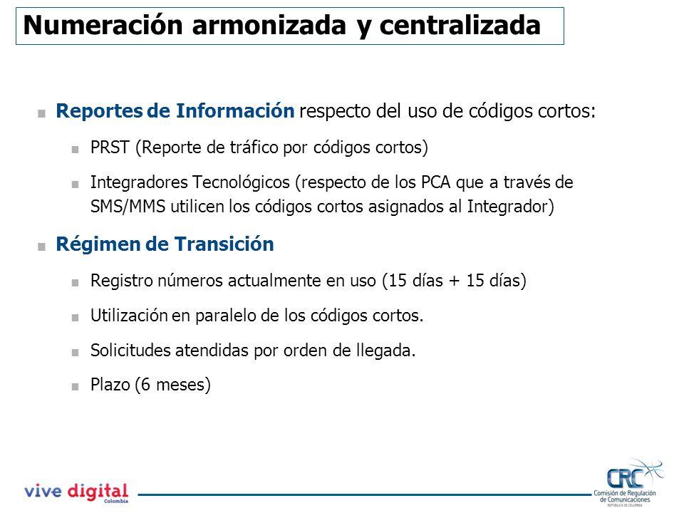 Numeración armonizada y centralizada Reportes de Información respecto del uso de códigos cortos: PRST (Reporte de tráfico por códigos cortos) Integrad