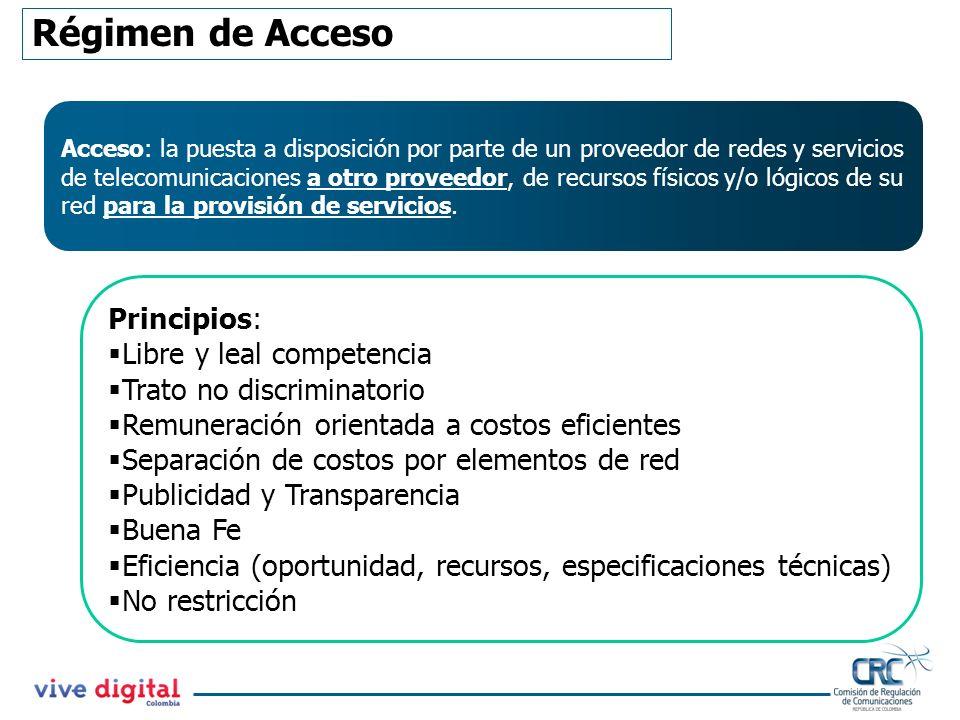 Obligaciones de los PCA Sujetarse a las condiciones del acuerdo de acceso según la Res CRC 3101 de 2011 No establecer períodos de permanencia mínima en la provisión de C&A.