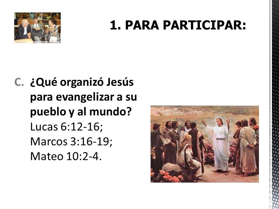 C.¿Qué organizó Jesús para evangelizar a su pueblo y al mundo? Lucas 6:12-16; Marcos 3:16-19; Mateo 10:2-4.