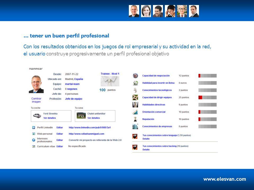 www.elesvan.com Con los resultados obtenidos en los juegos de rol empresarial y su actividad en la red, el usuario construye progresivamente un perfil