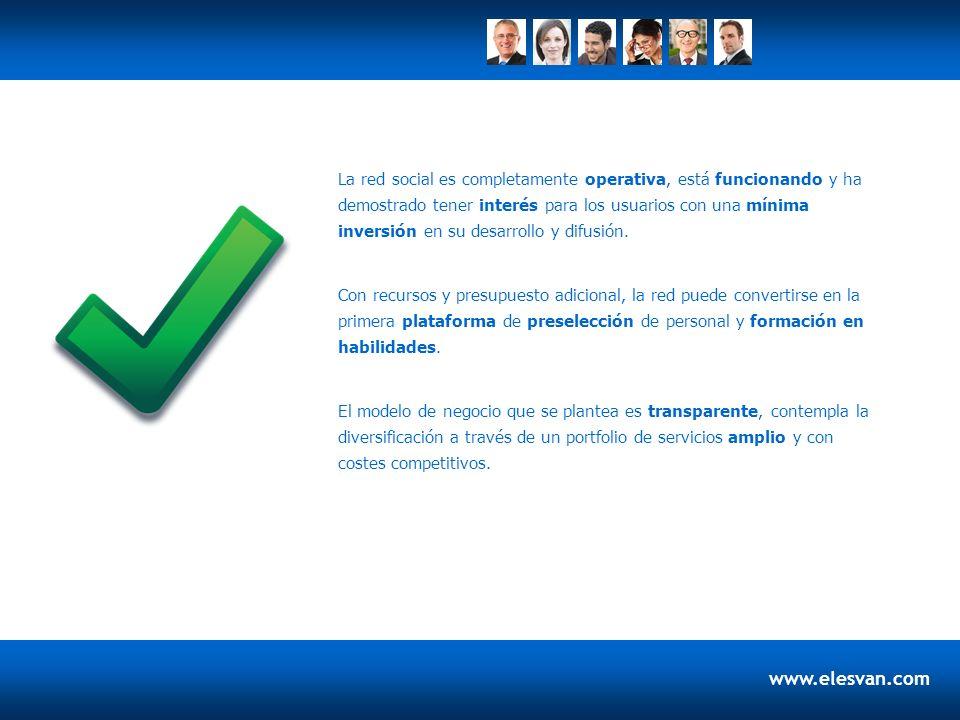 www.elesvan.com La red social es completamente operativa, está funcionando y ha demostrado tener interés para los usuarios con una mínima inversión en su desarrollo y difusión.