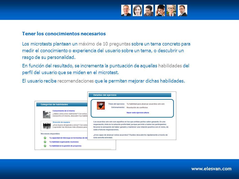www.elesvan.com Los microtests plantean un máximo de 10 preguntas sobre un tema concreto para medir el conocimiento o experiencia del usuario sobre un