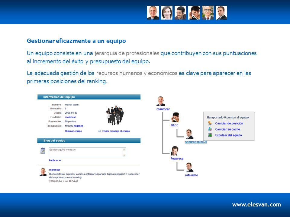 www.elesvan.com Un equipo consiste en una jerarquía de profesionales que contribuyen con sus puntuaciones al incremento del éxito y presupuesto del eq