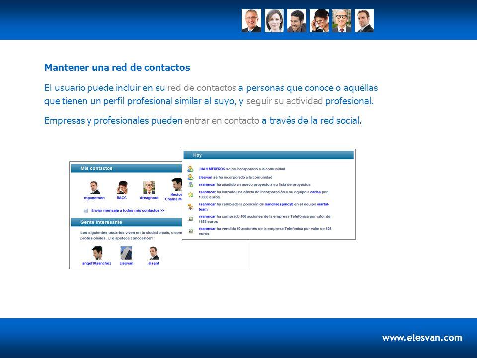 www.elesvan.com El usuario puede incluir en su red de contactos a personas que conoce o aquéllas que tienen un perfil profesional similar al suyo, y seguir su actividad profesional.