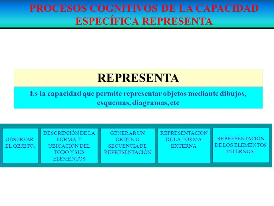 REPRESENTA Es la capacidad que permite representar objetos mediante dibujos, esquemas, diagramas, etc DESCRIPCIÓN DE LA FORMA Y UBICACIÓN DEL TODO Y S