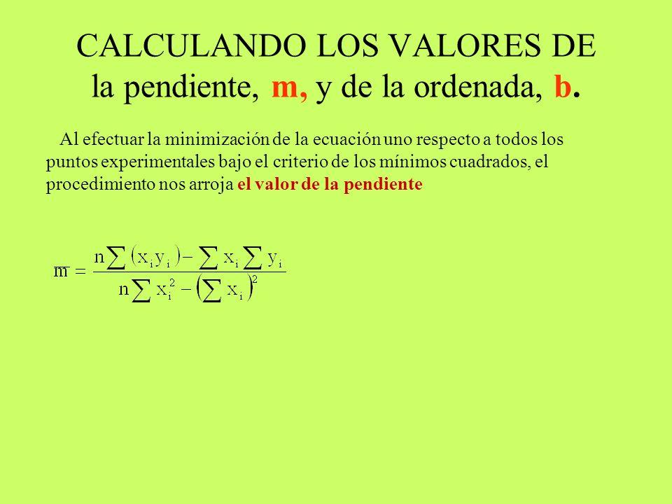 Al efectuar la minimización de la ecuación uno respecto a todos los puntos experimentales bajo el criterio de los mínimos cuadrados,
