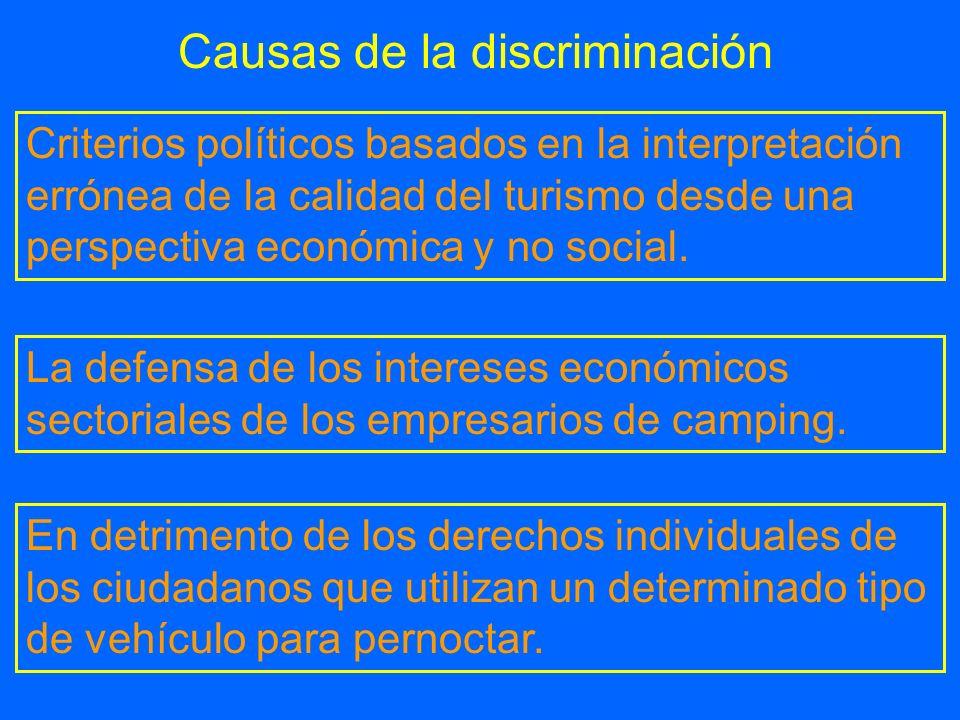 Causas de la discriminación Criterios políticos basados en la interpretación errónea de la calidad del turismo desde una perspectiva económica y no so