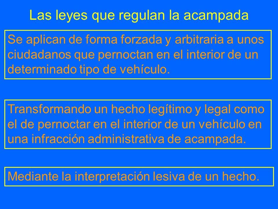 Las leyes que regulan la acampada Transformando un hecho legítimo y legal como el de pernoctar en el interior de un vehículo en una infracción adminis