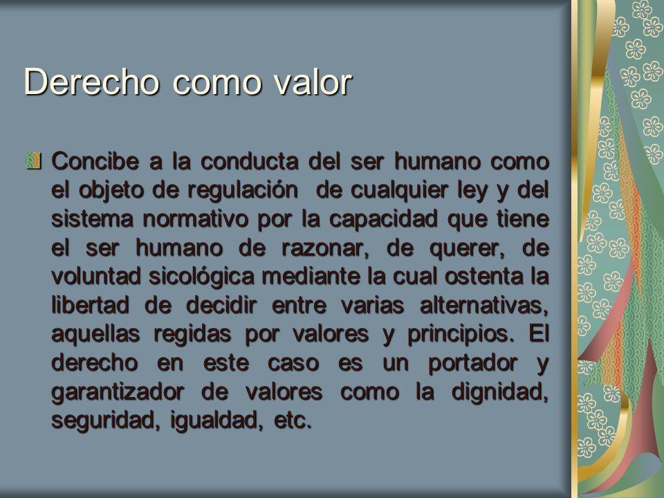 Derecho como valor Concibe a la conducta del ser humano como el objeto de regulación de cualquier ley y del sistema normativo por la capacidad que tie