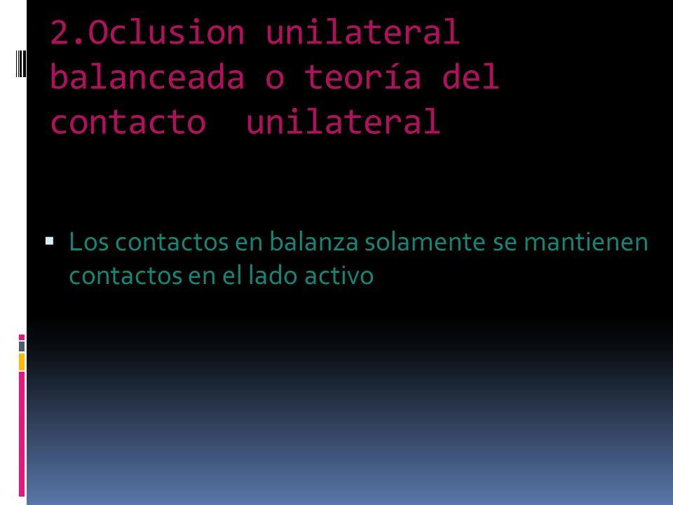 2.Oclusion unilateral balanceada o teoría del contacto unilateral Los contactos en balanza solamente se mantienen contactos en el lado activo