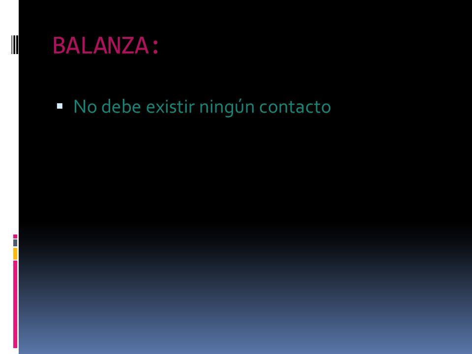 BALANZA: No debe existir ningún contacto
