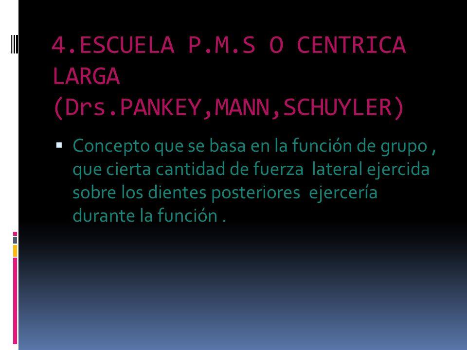 4.ESCUELA P.M.S O CENTRICA LARGA (Drs.PANKEY,MANN,SCHUYLER) Concepto que se basa en la función de grupo, que cierta cantidad de fuerza lateral ejercid