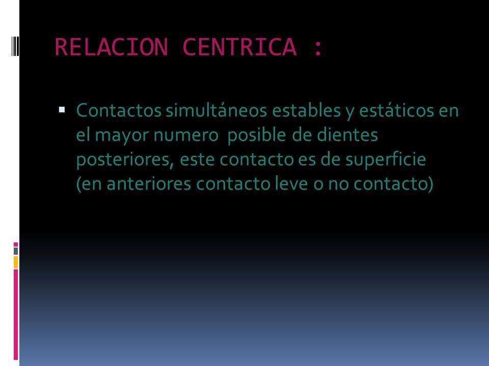 RELACION CENTRICA : Contactos simultáneos estables y estáticos en el mayor numero posible de dientes posteriores, este contacto es de superficie (en a