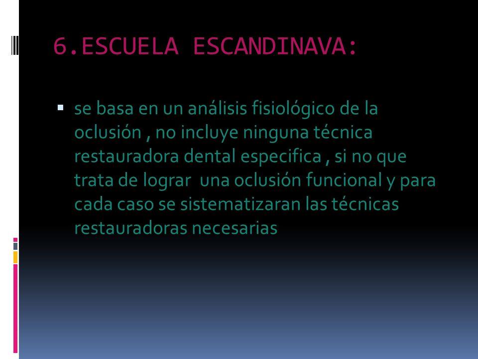 6.ESCUELA ESCANDINAVA: se basa en un análisis fisiológico de la oclusión, no incluye ninguna técnica restauradora dental especifica, si no que trata d