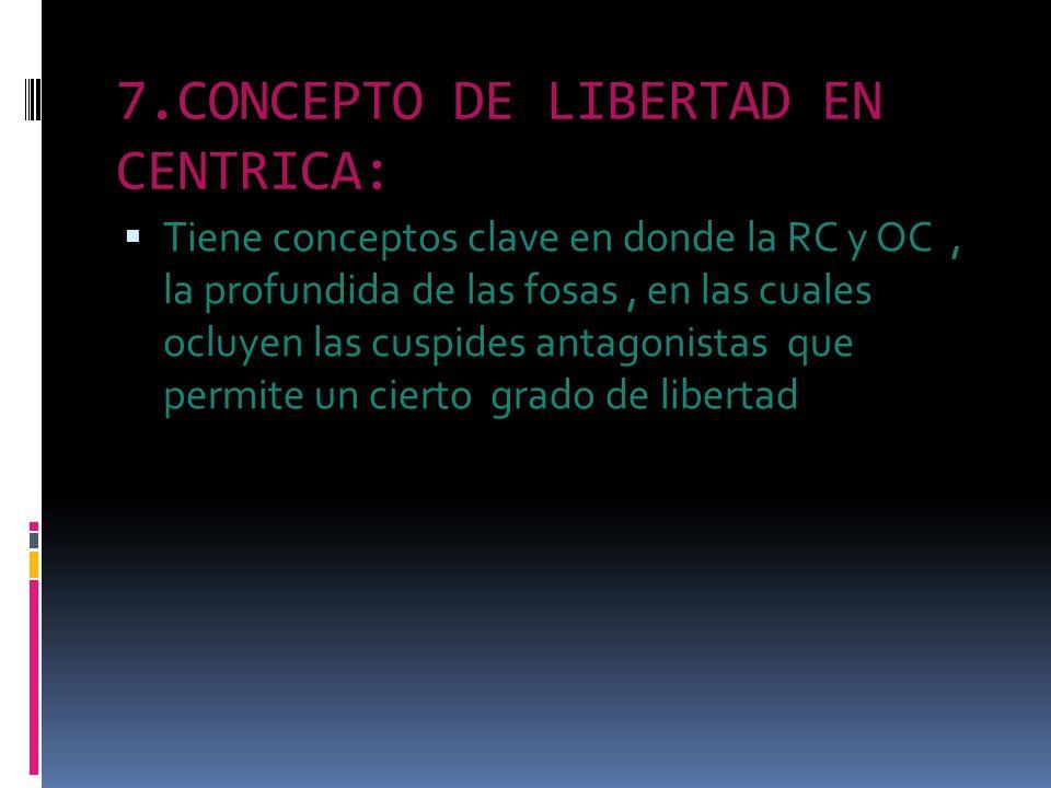 7.CONCEPTO DE LIBERTAD EN CENTRICA: Tiene conceptos clave en donde la RC y OC, la profundida de las fosas, en las cuales ocluyen las cuspides antagoni
