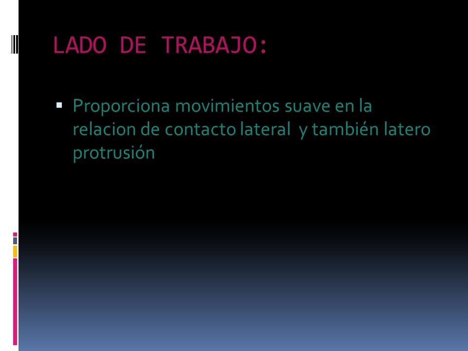 LADO DE TRABAJO: Proporciona movimientos suave en la relacion de contacto lateral y también latero protrusión
