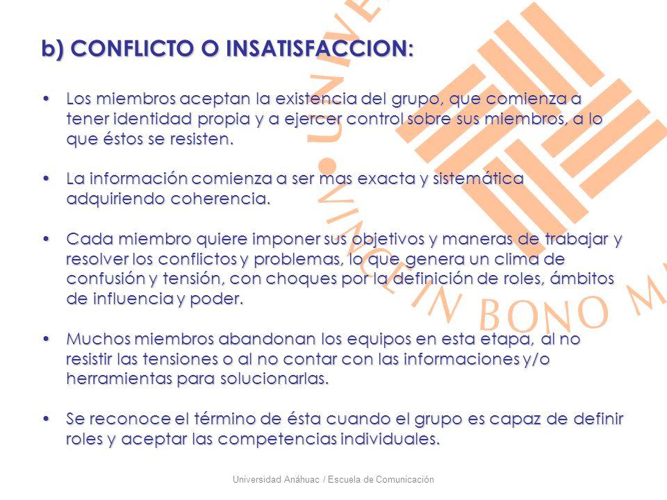 Universidad Anáhuac / Escuela de Comunicación b) CONFLICTO O INSATISFACCION: Los miembros aceptan la existencia del grupo, que comienza a tener identi