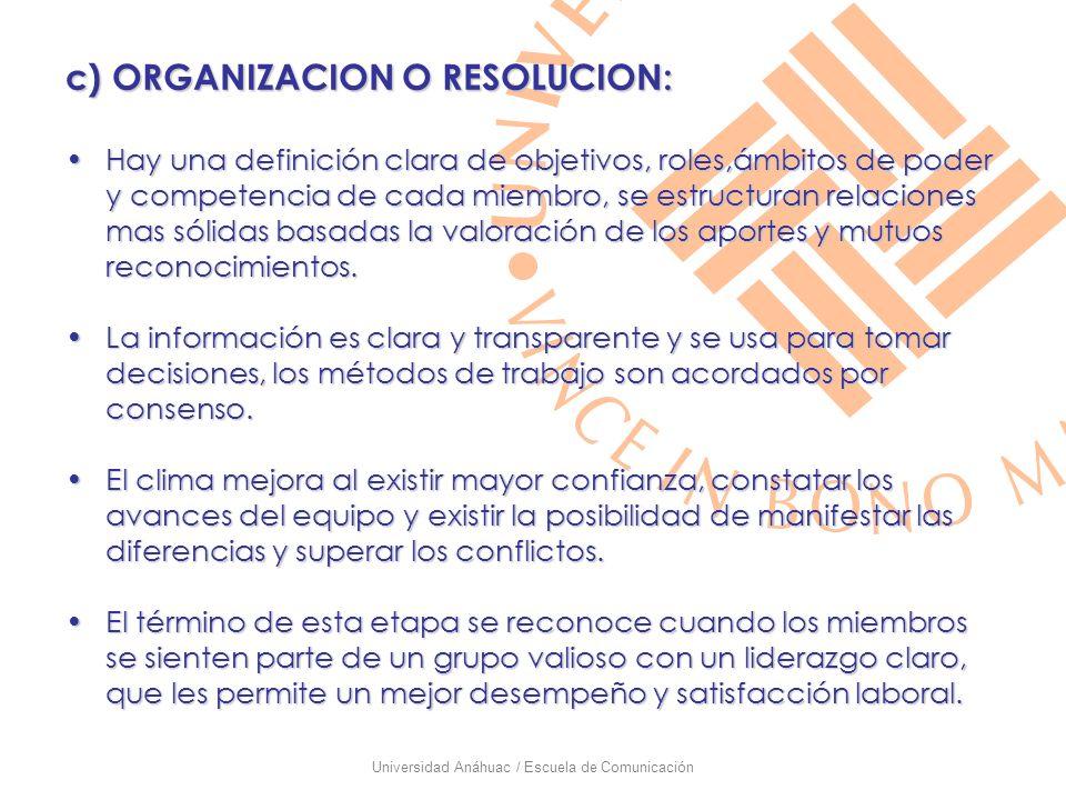Universidad Anáhuac / Escuela de Comunicación c) ORGANIZACION O RESOLUCION: Hay una definición clara de objetivos, roles,ámbitos de poder y competenci