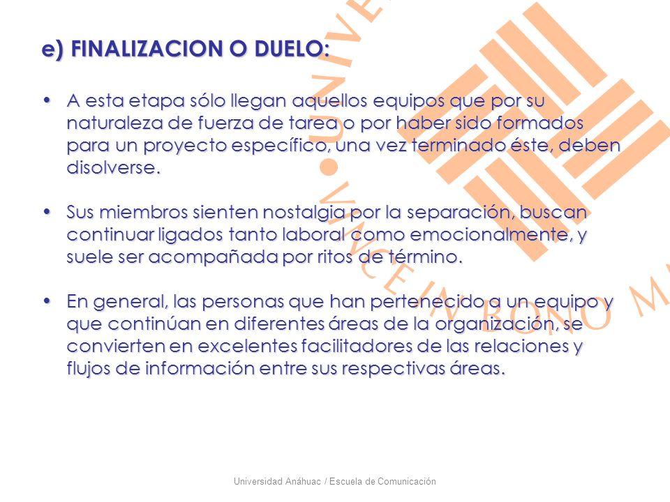 Universidad Anáhuac / Escuela de Comunicación e) FINALIZACION O DUELO: A esta etapa sólo llegan aquellos equipos que por su naturaleza de fuerza de ta