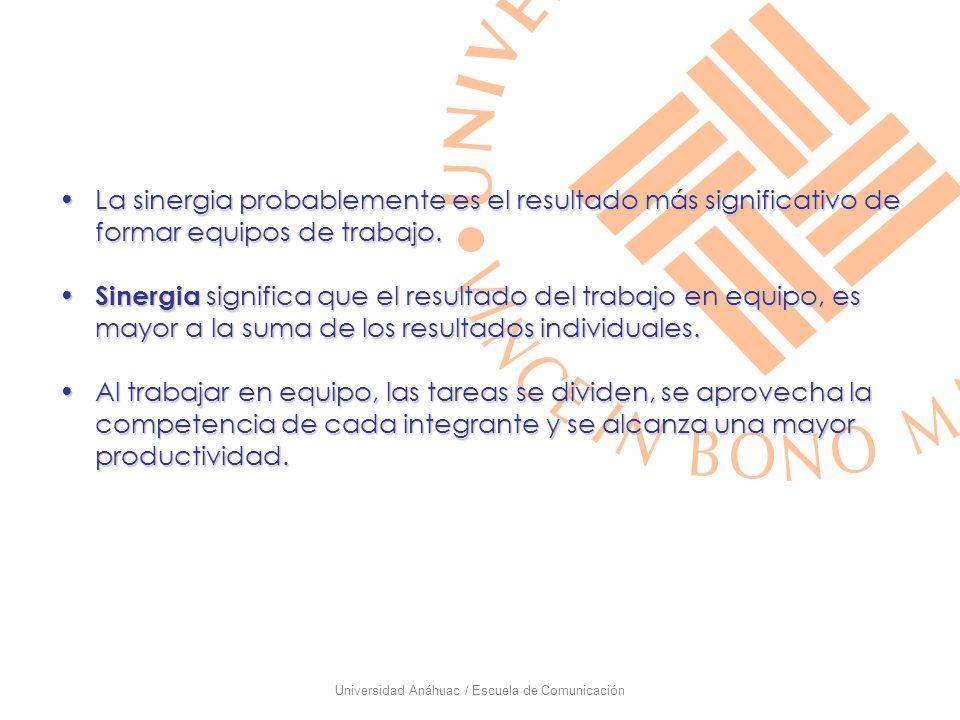 Universidad Anáhuac / Escuela de Comunicación La sinergia probablemente es el resultado más significativo de formar equipos de trabajo.La sinergia pro