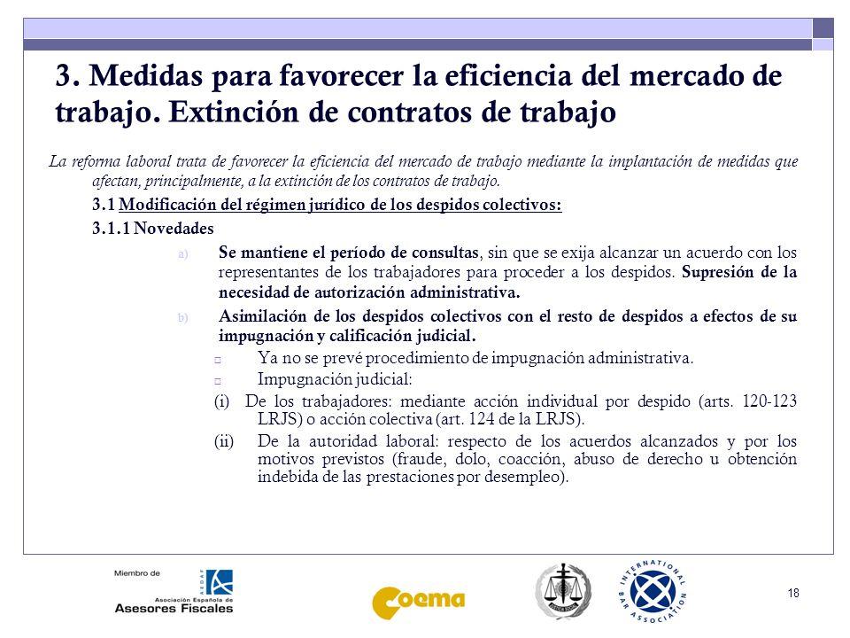 19 3.Medidas para favorecer la eficiencia del mercado de trabajo.