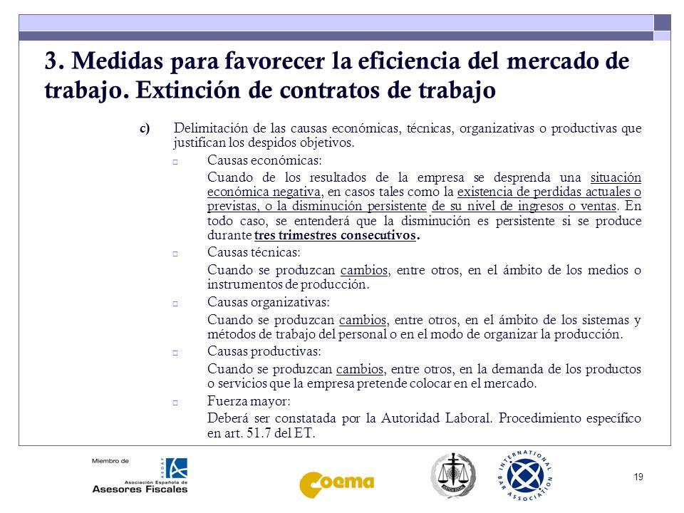 20 3.Medidas para favorecer la eficiencia del mercado de trabajo.