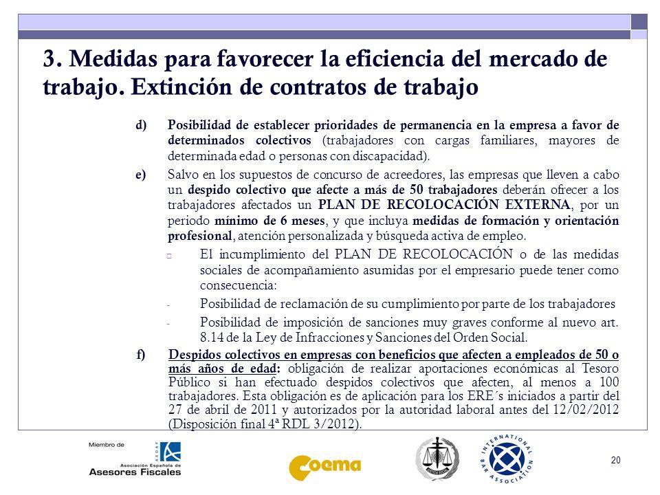 21 3.Medidas para favorecer la eficiencia del mercado de trabajo.