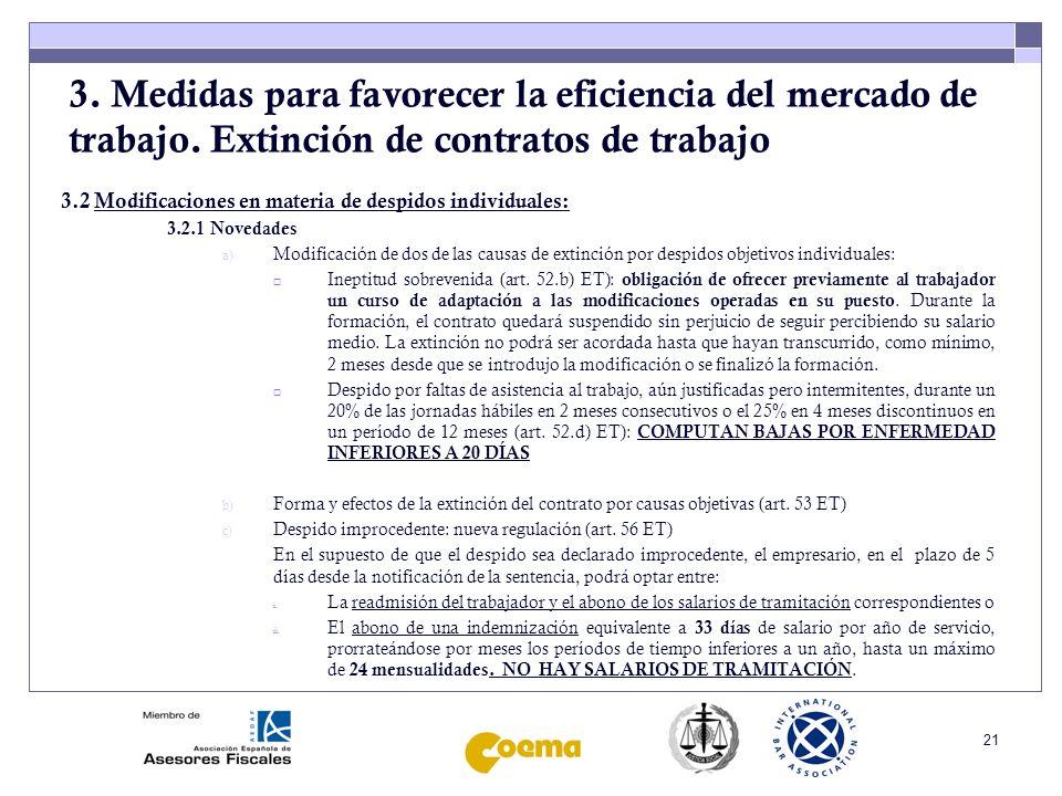 22 3.Medidas para favorecer la eficiencia del mercado de trabajo.