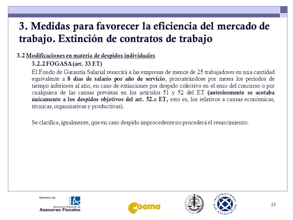 24 3.Medidas para favorecer la eficiencia del mercado de trabajo.