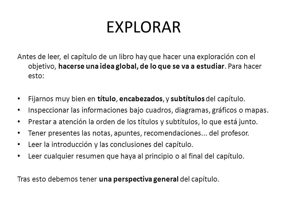 EXPLORAR Antes de leer, el capítulo de un libro hay que hacer una exploración con el objetivo, hacerse una idea global, de lo que se va a estudiar. Pa