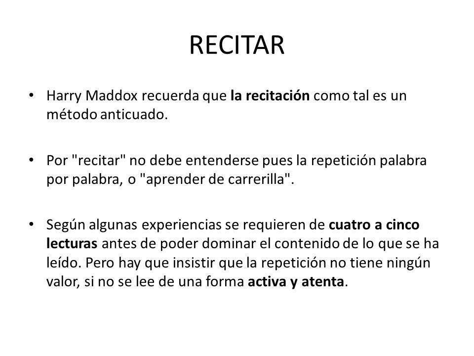 RECITAR Harry Maddox recuerda que la recitación como tal es un método anticuado. Por