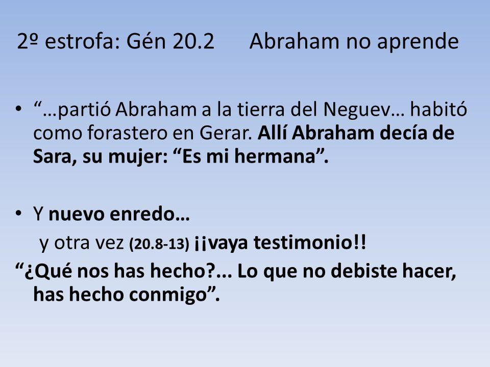 …partió Abraham a la tierra del Neguev… habitó como forastero en Gerar. Allí Abraham decía de Sara, su mujer: Es mi hermana. Y nuevo enredo… y otra ve