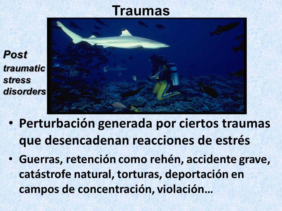 Perturbación generada por ciertos traumas que desencadenan reacciones de estrés Guerras, retención como rehén, accidente grave, catástrofe natural, to
