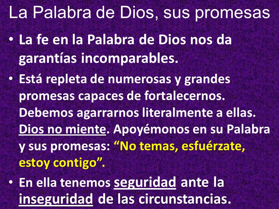 La fe en la Palabra de Dios nos da garantías incomparables. No temas, esfuérzate, estoy contigo. Está repleta de numerosas y grandes promesas capaces