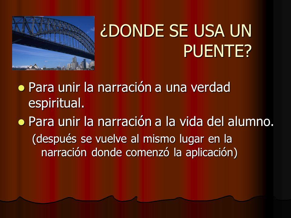 ¿DONDE SE USA UN PUENTE? Para unir la narración a una verdad espiritual. Para unir la narración a una verdad espiritual. Para unir la narración a la v