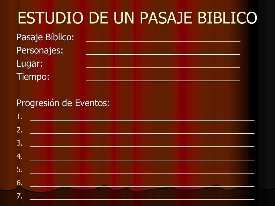 ESTUDIO DE UN PASAJE BIBLICO Pasaje Bíblico: _______________________________ Personajes: _______________________________ Lugar: ______________________