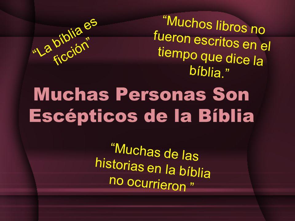 Muchas Personas Son Escépticos de la Bíblia La bíblia es ficción Muchas de las historias en la bíblia no ocurrieron Muchos libros no fueron escritos e