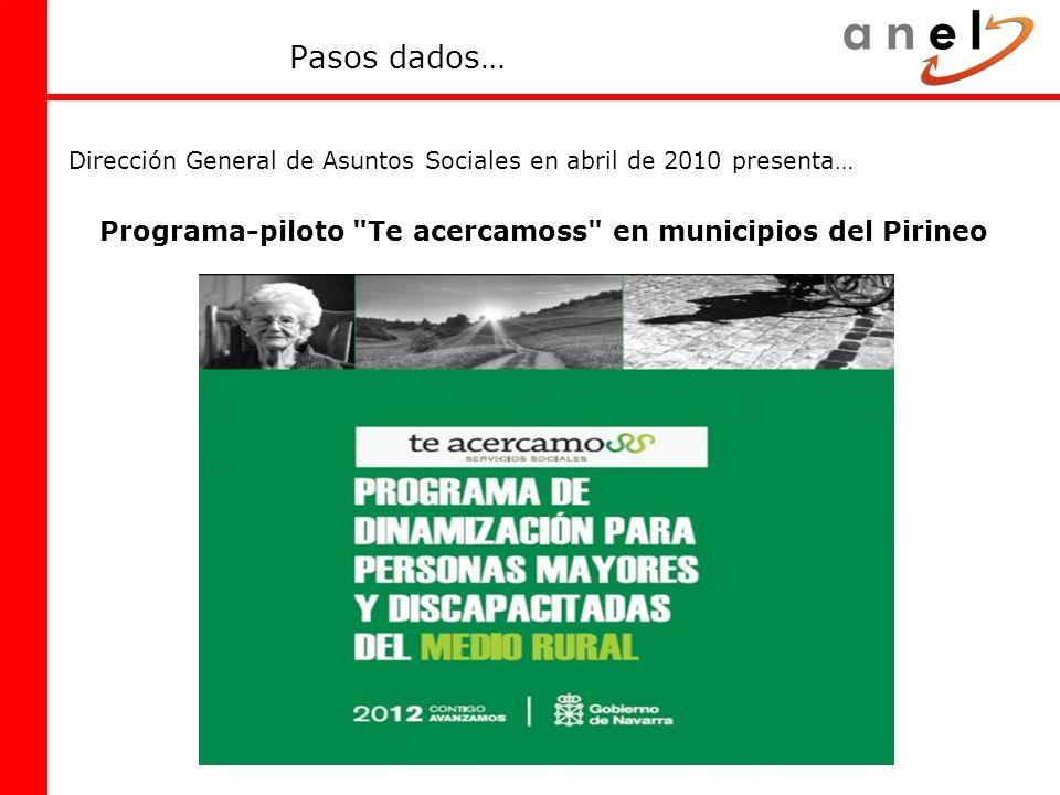Pasos dados… Dirección General de Asuntos Sociales en abril de 2010 presenta… Programa-piloto