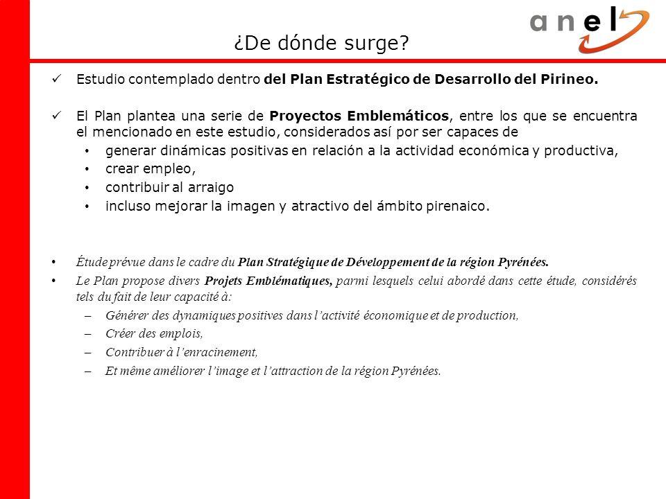 ¿De dónde surge? Estudio contemplado dentro del Plan Estratégico de Desarrollo del Pirineo. El Plan plantea una serie de Proyectos Emblemáticos, entre