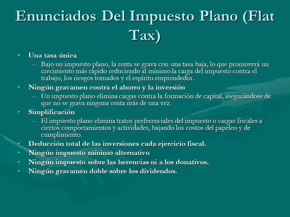Enunciados Del Impuesto Plano (Flat Tax) Una tasa únicaUna tasa única –Bajo un impuesto plano, la renta se grava con una tasa baja, lo que promoverá u
