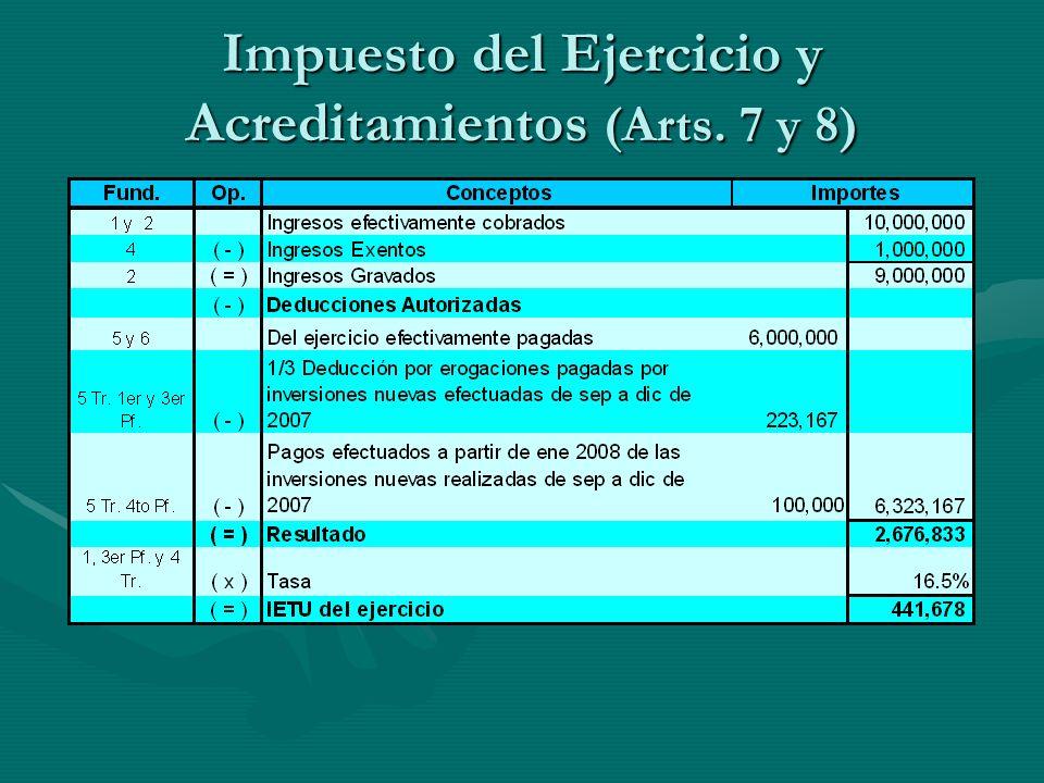 Impuesto del Ejercicio y Acreditamientos (Arts. 7 y 8)