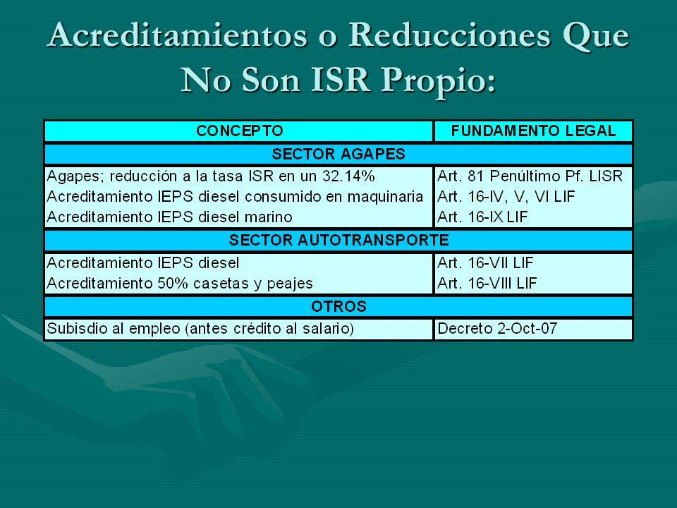 Acreditamientos o Reducciones Que No Son ISR Propio: