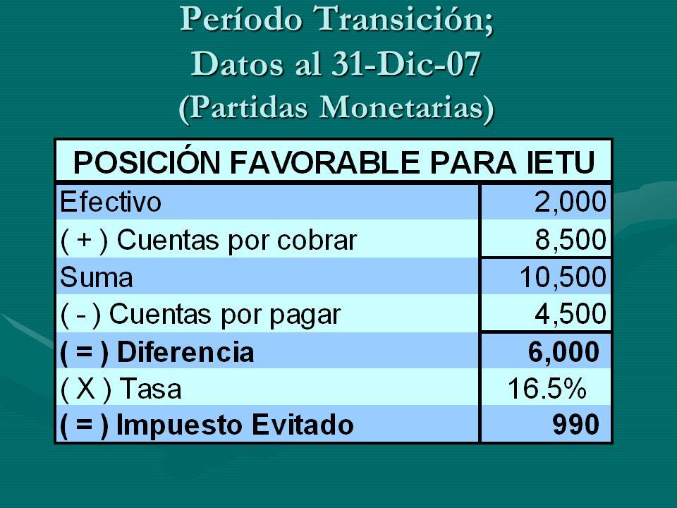 Período Transición; Datos al 31-Dic-07 (Partidas Monetarias)