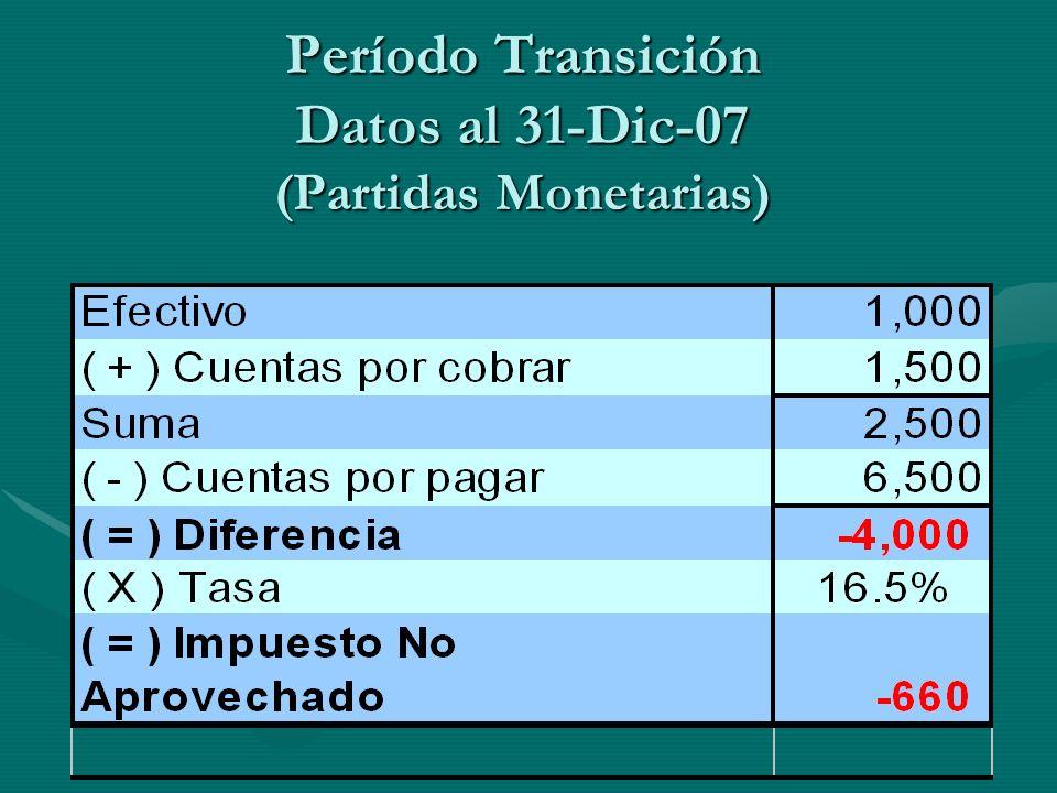 Período Transición Datos al 31-Dic-07 (Partidas Monetarias)