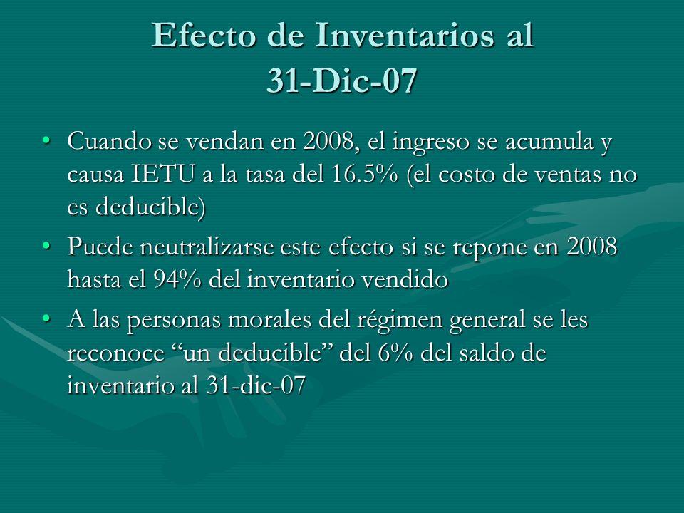 Efecto de Inventarios al 31-Dic-07 Cuando se vendan en 2008, el ingreso se acumula y causa IETU a la tasa del 16.5% (el costo de ventas no es deducibl